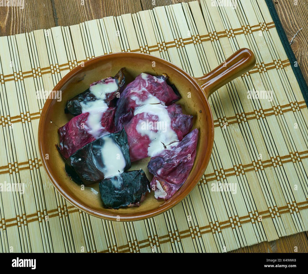 German Red Cabbage Rolls - Rotkohl - Stock Image