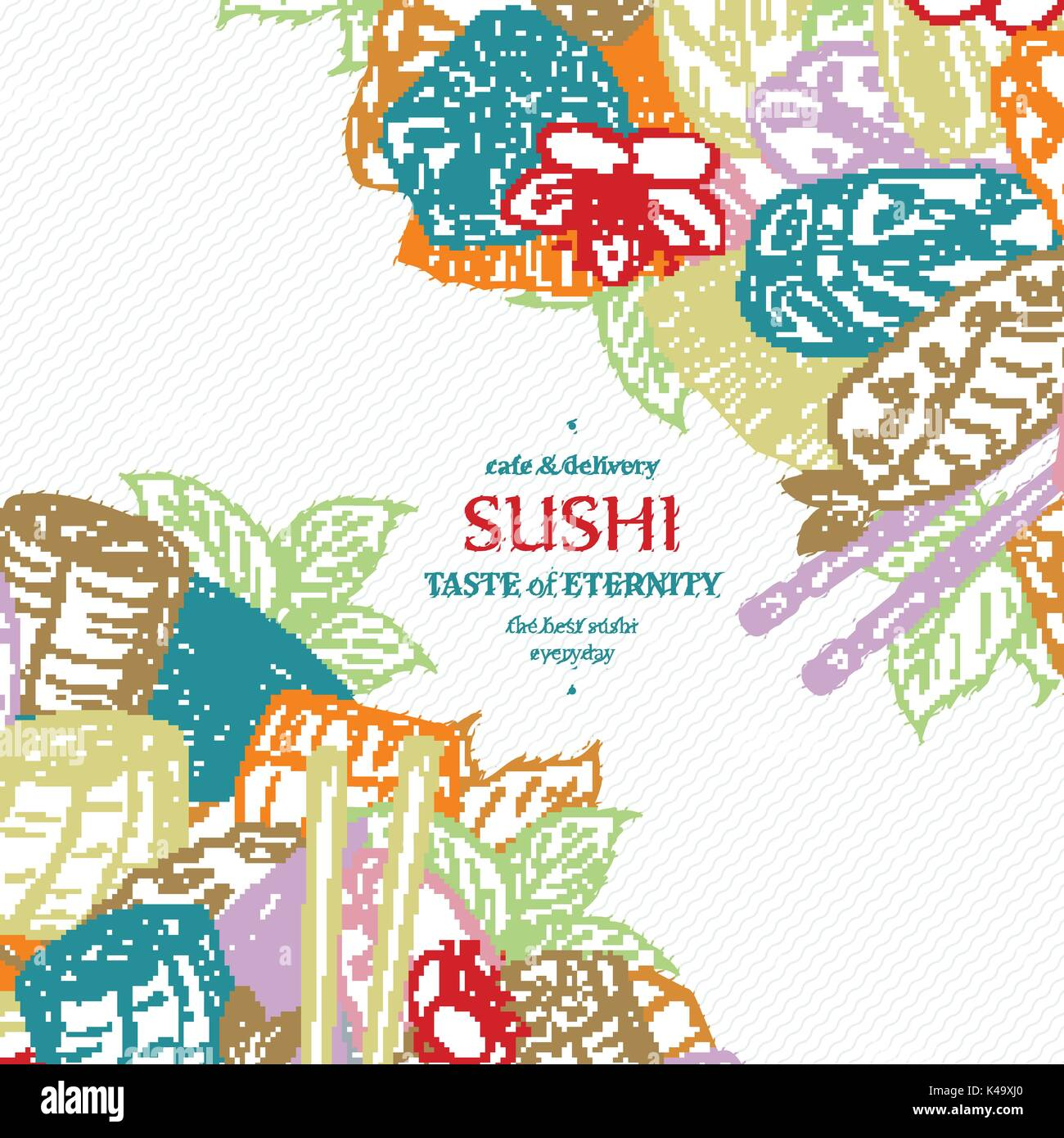 Doodle Sushi Restaurant Menu Design Template Engrave Asian Food Stock Vector Image Art Alamy