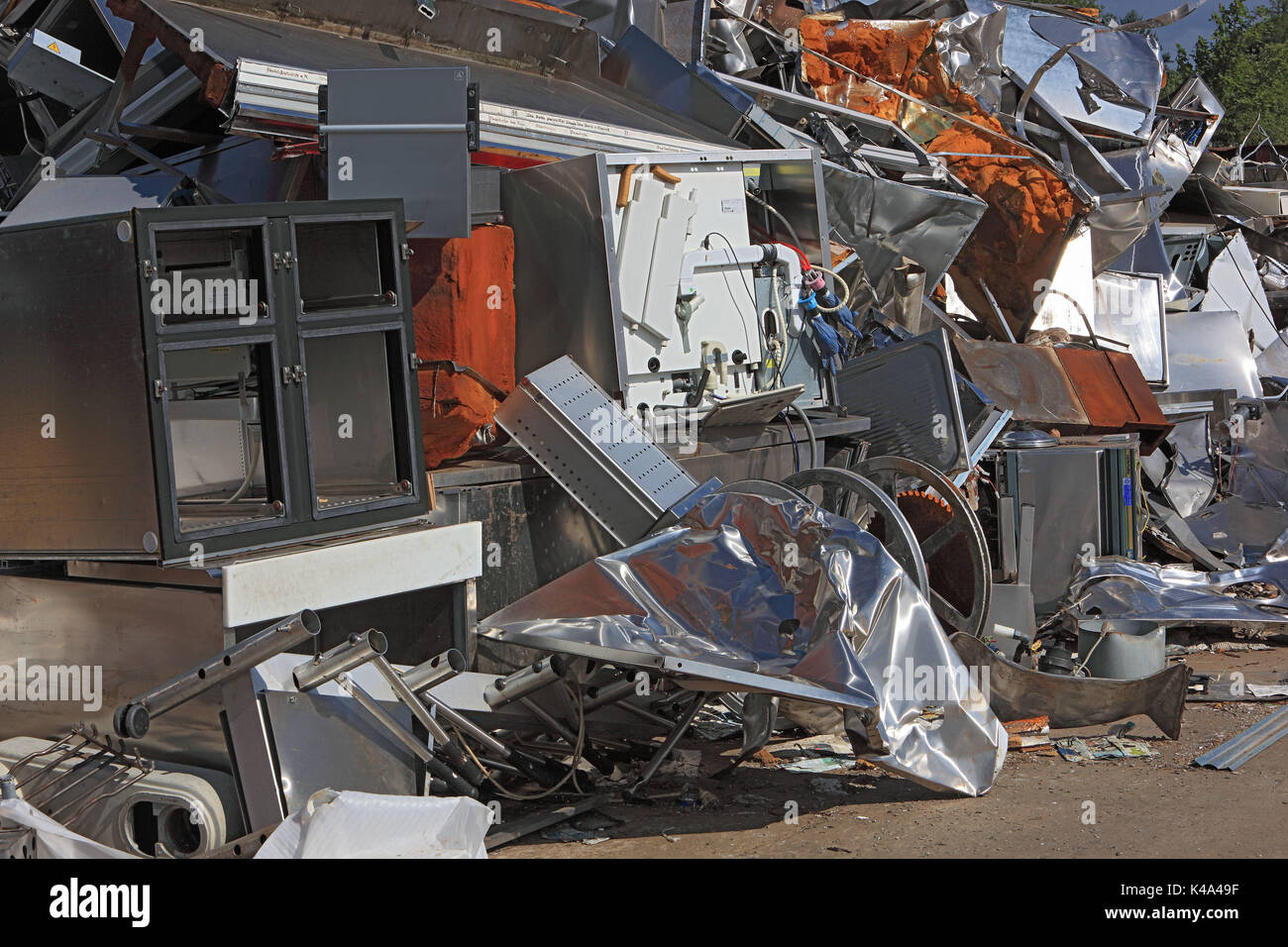 Metal Rubbish Of Commercial Kind On A Scrap Metal Waste Dump In A Recycling  Company,