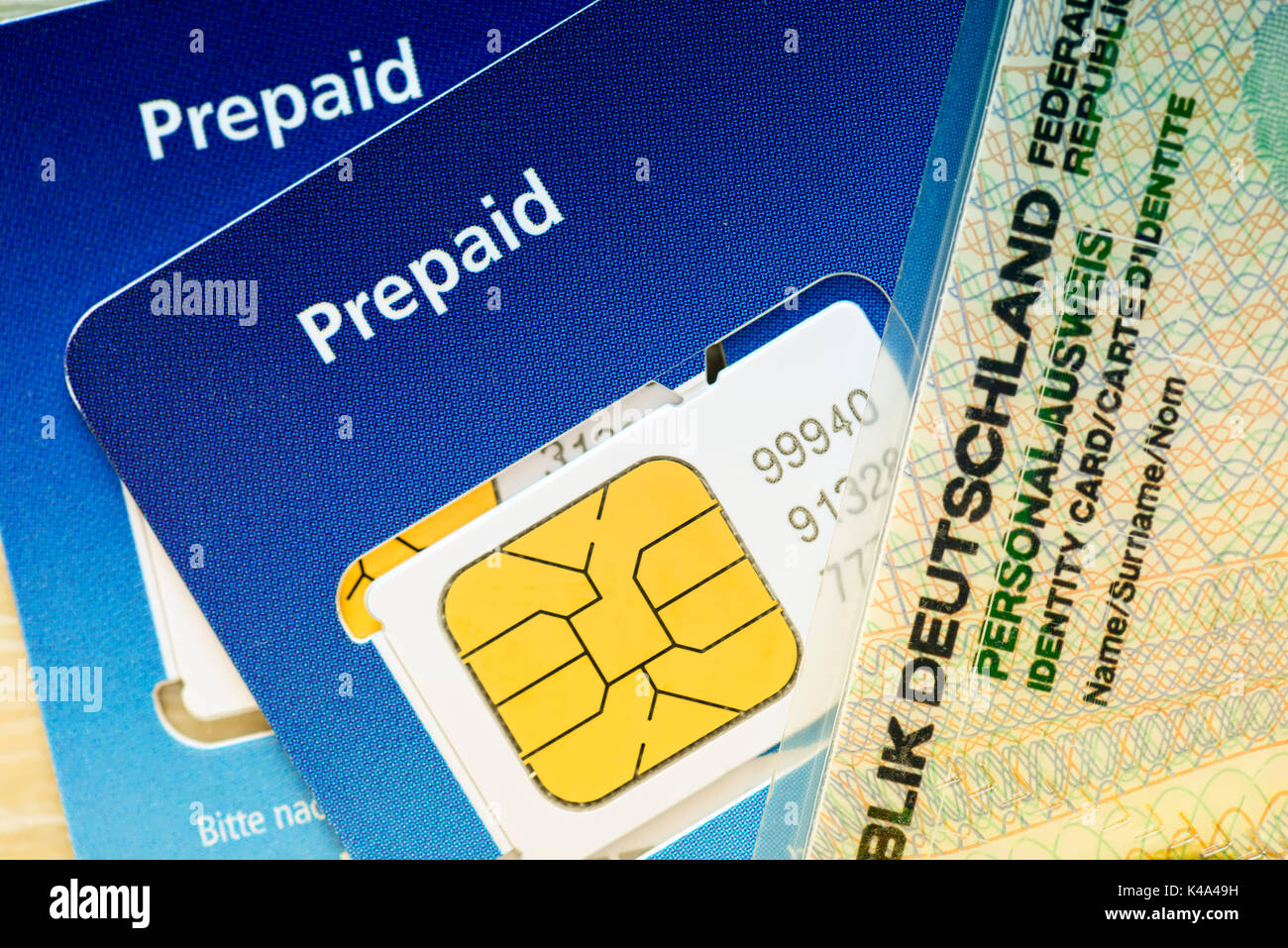 Prepaid Cards And German Identity Card - Stock Image
