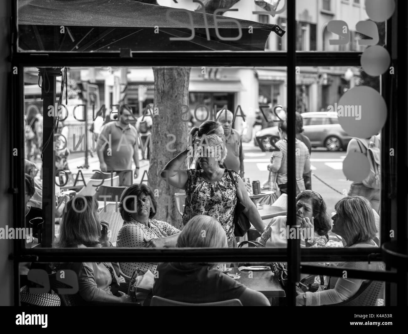 Looking Out The Window Of Street Cafes In Funchal, Madeira - Stock Image