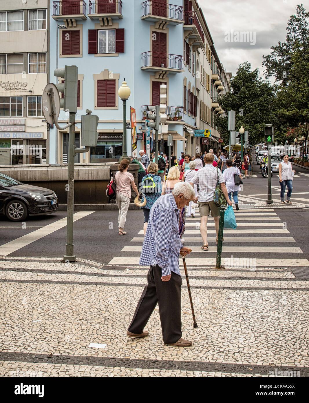 Senior On The Street Stock Photo