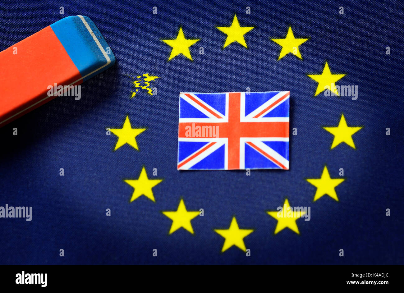 Flag Of Europe, Union Jack And Eraser, Brexit Stock Photo