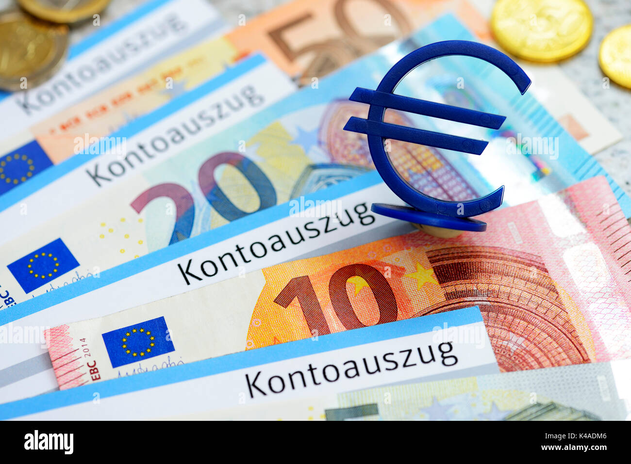Bank Statements, Euro Banknotes And Euro Sign Stock Photo