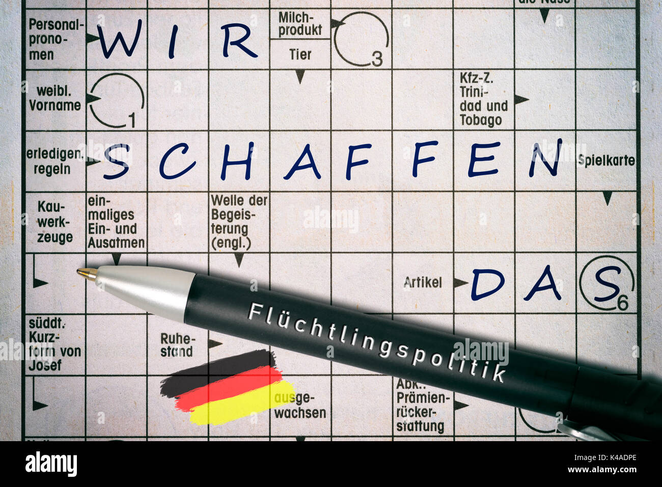 Crossword Showing Famous Slogan Of German Chancellor Angela Merkel   Stock  Image