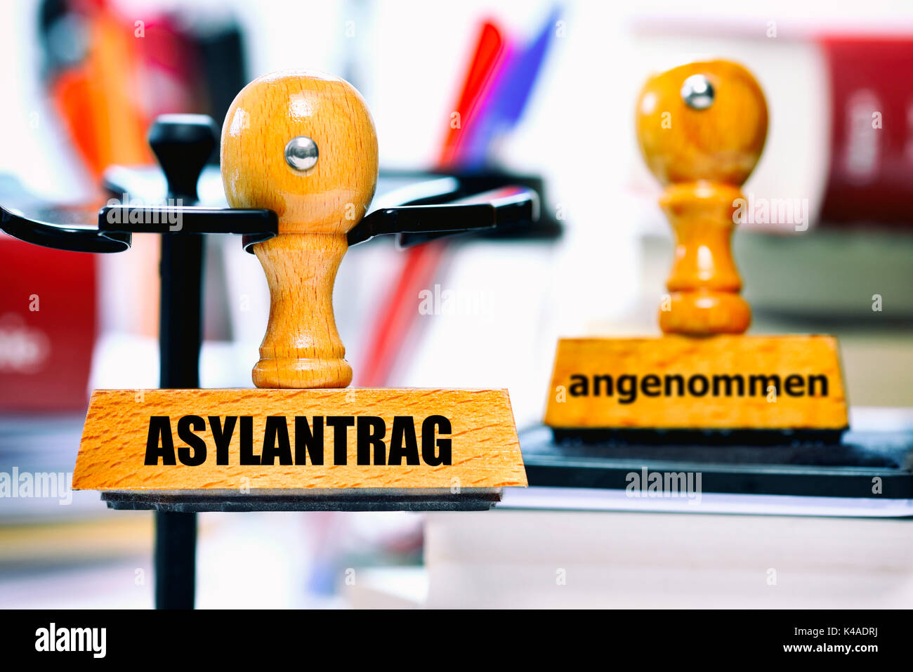 Application For Asylum And Accepted Stamp - Stock Image