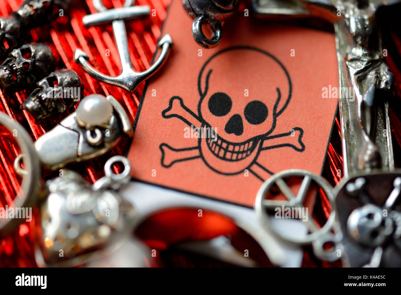 Costume Jewelry And Warning Sign, Toxic Substances In Cheap Jewelry - Stock Image