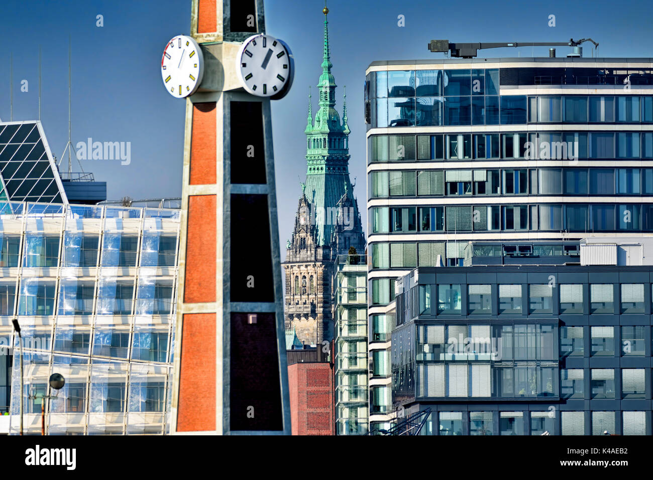 Town Hall And Modern Office Buildings In Hamburg, Germany - Stock Image