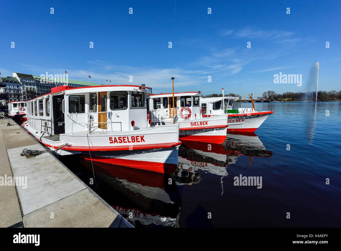 Alster Boats In Hamburg, Germany Stock Photo