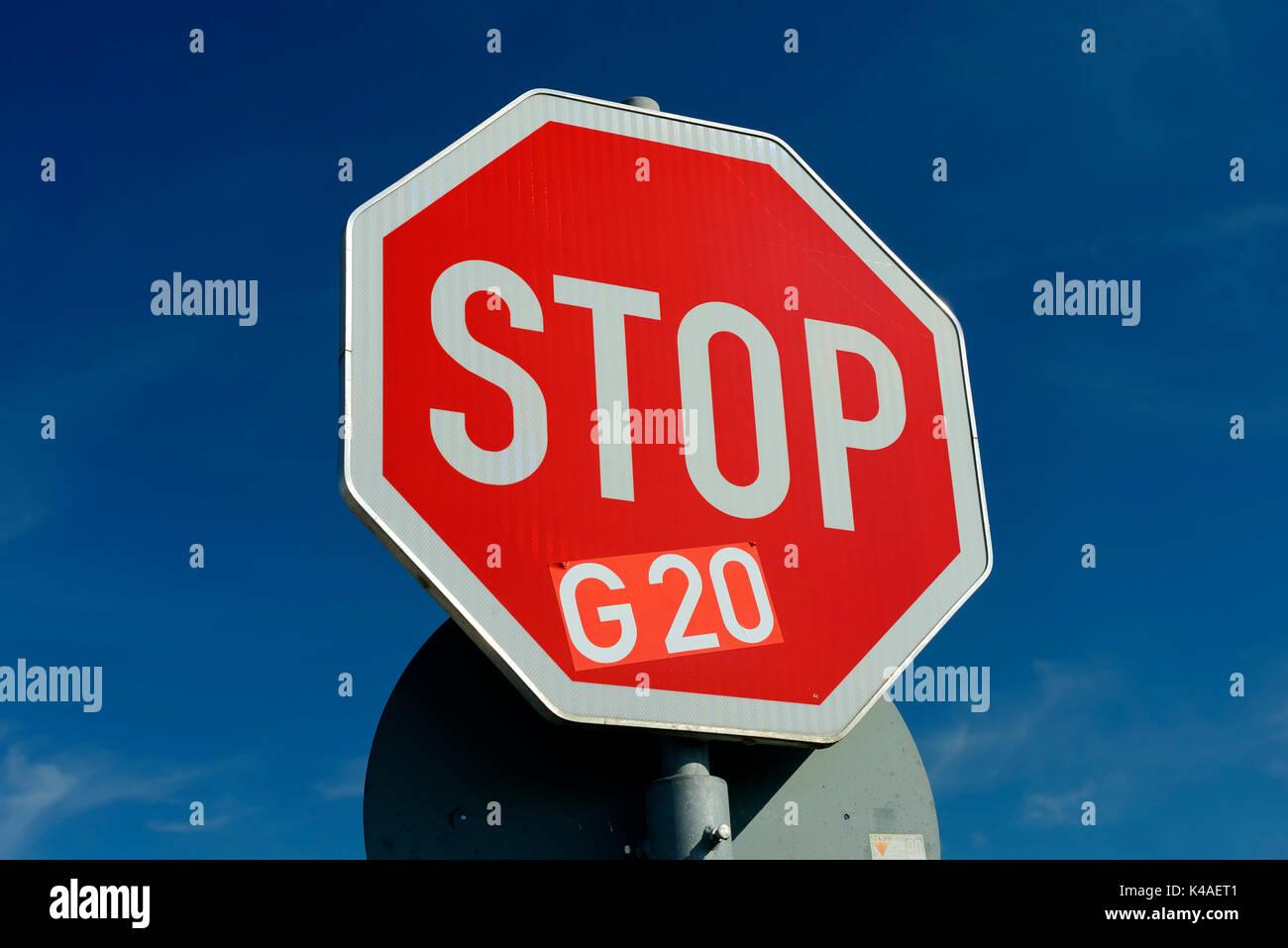 G20 Summit Protest In Hamburg, Germany - Stock Image