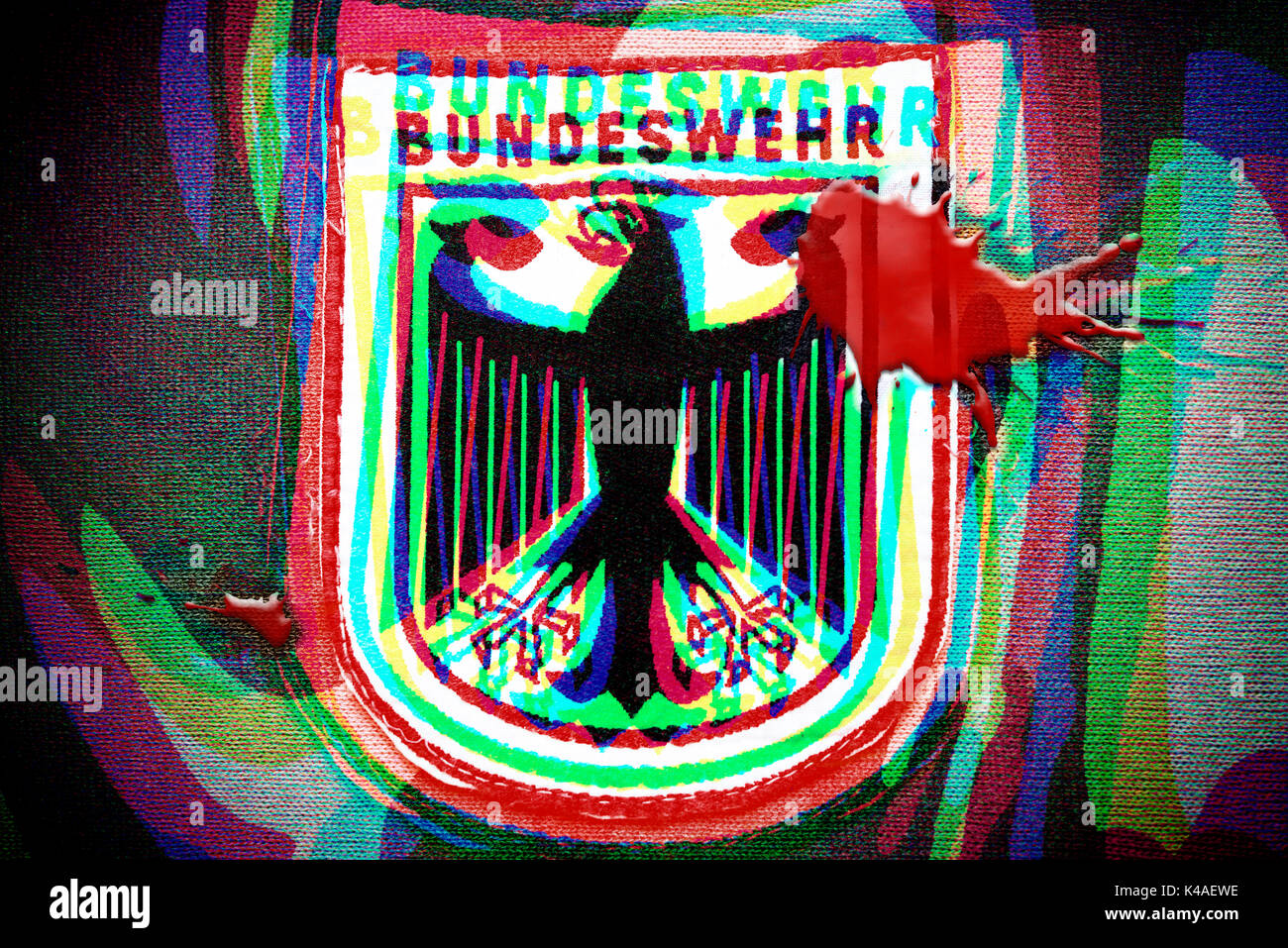German Armed Forces Emblem With Blood Stain, Bundeswehr Scandal - Stock Image