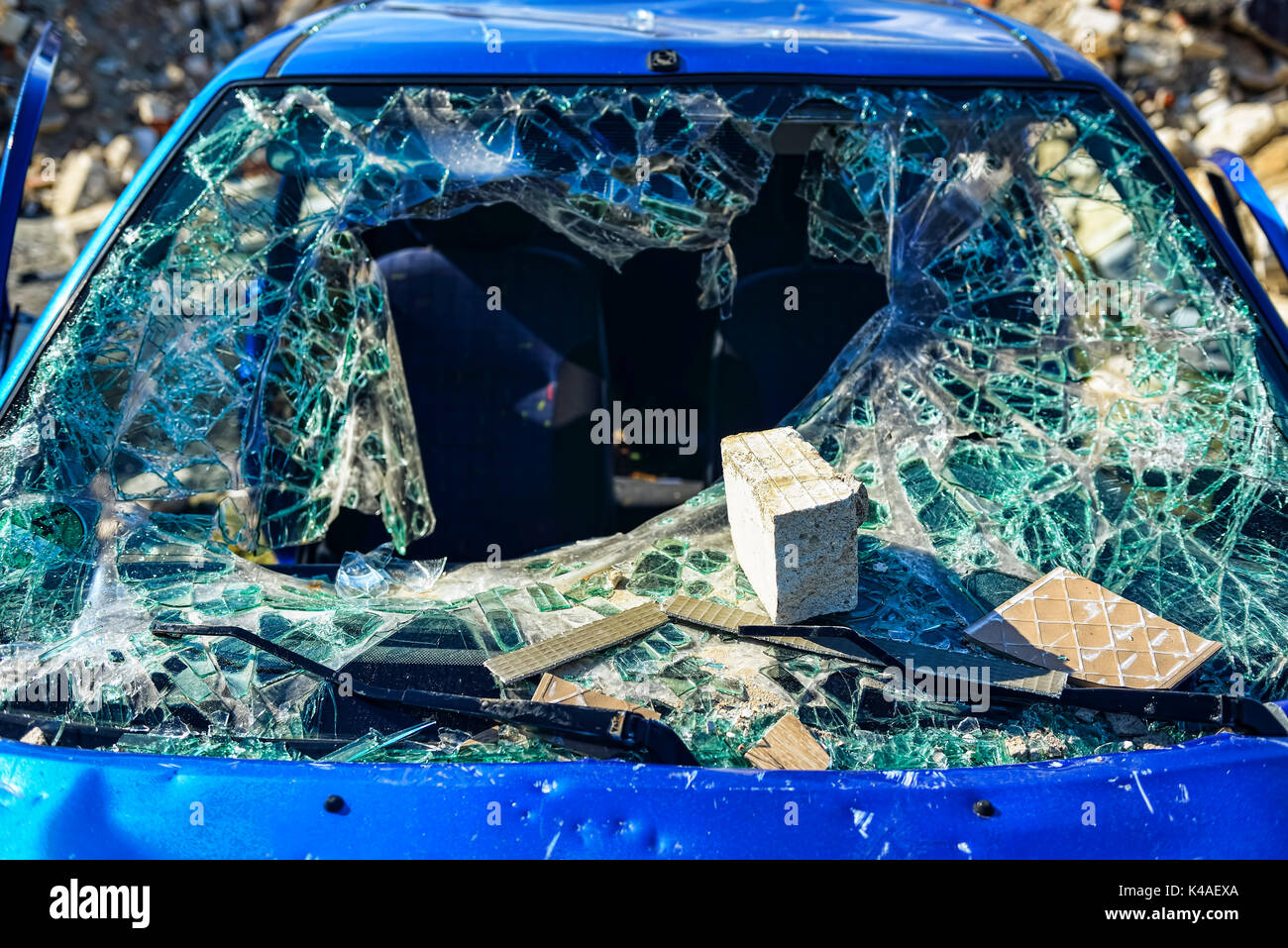 Broken Windshield Of A Car - Stock Image