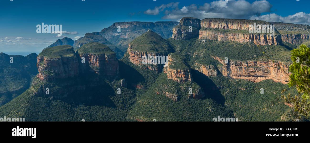 Three Rondavel of Panoramaroute, viewpoint Tri Rondavel, Mpumalanga, South Africa - Stock Image