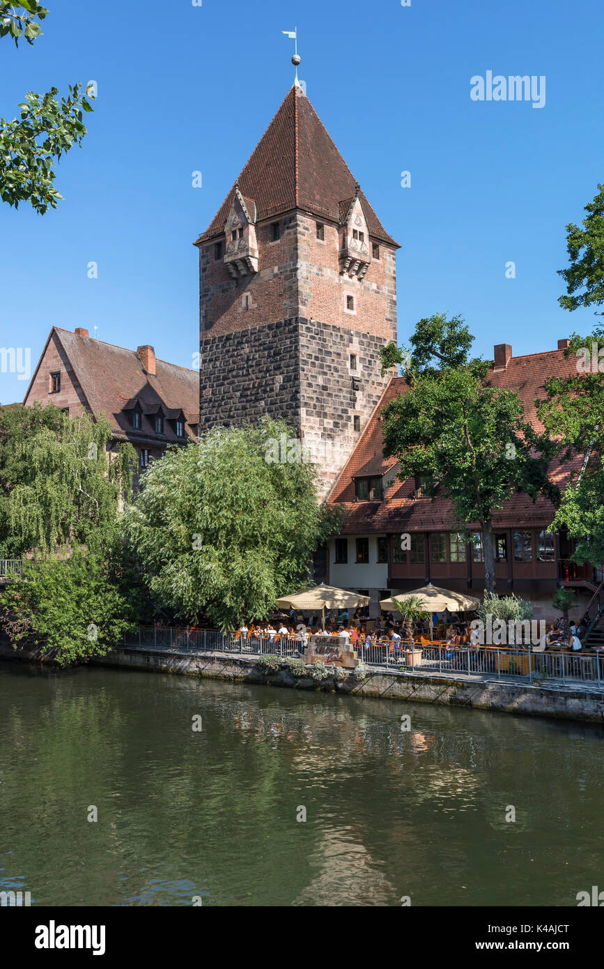 Debt tower, garden restaurant at the Pegnitz, Nuremberg, Middle Franconia, Bavaria, Germany - Stock Image