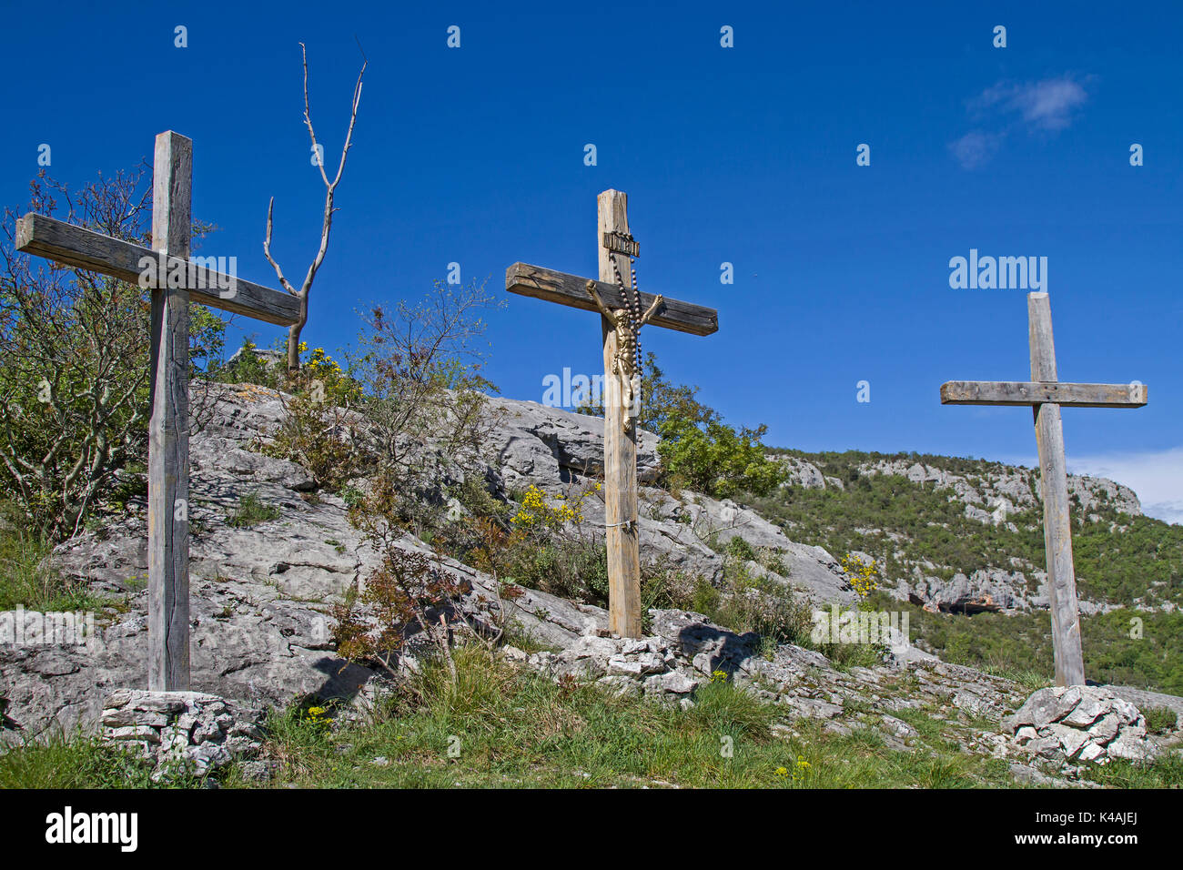 Calvary In Istarske Toplice In The Inland Of The Istrian Peninsula - Stock Image