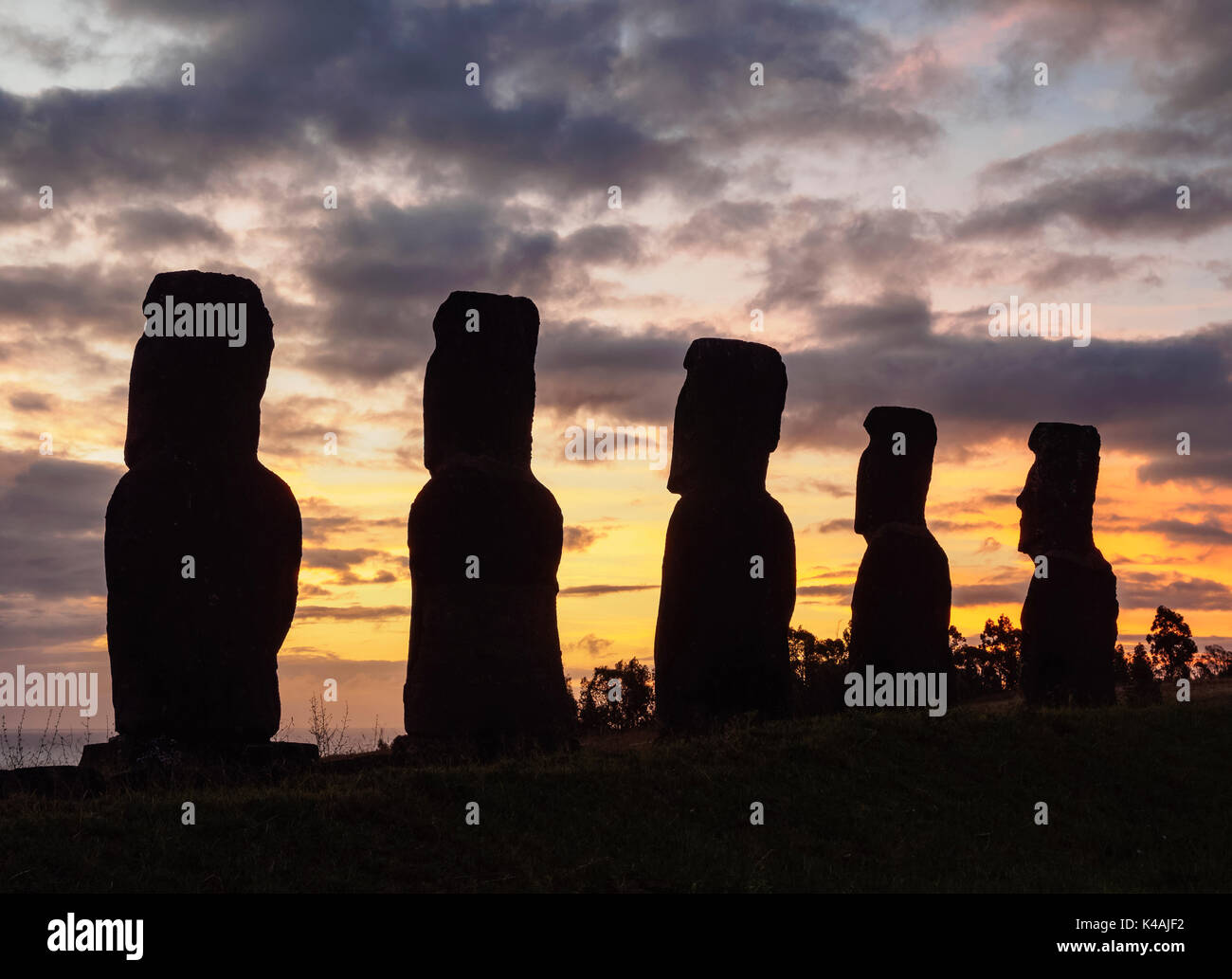 Moais in Ahu Akivi at sunset, Rapa Nui National Park, Easter Island, Chile - Stock Image