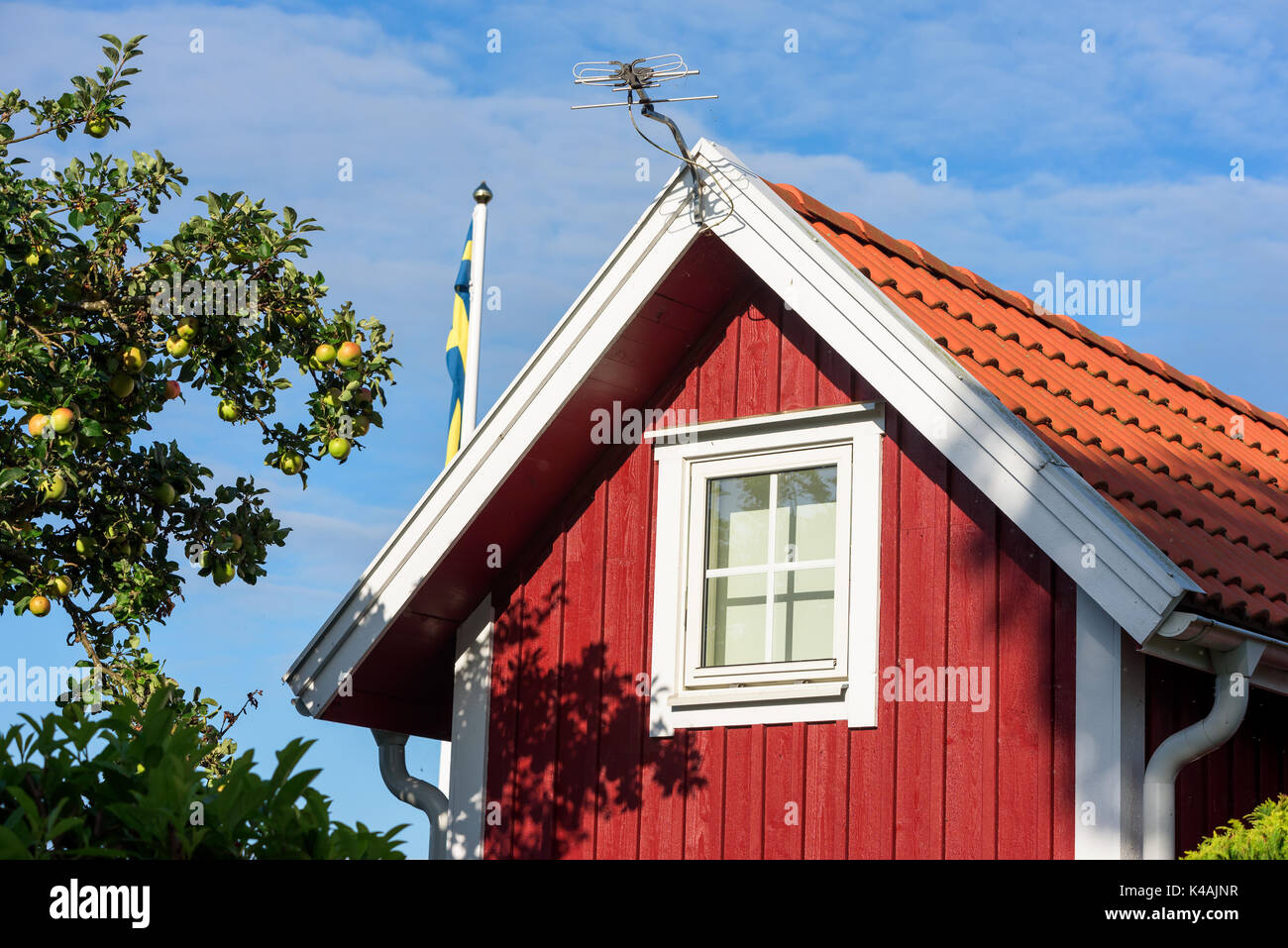 Top part of a red and white cottage gable with tv antenna on the wall. Apple tree beside the window and a flagpole with Swedish flag behind. - Stock Image