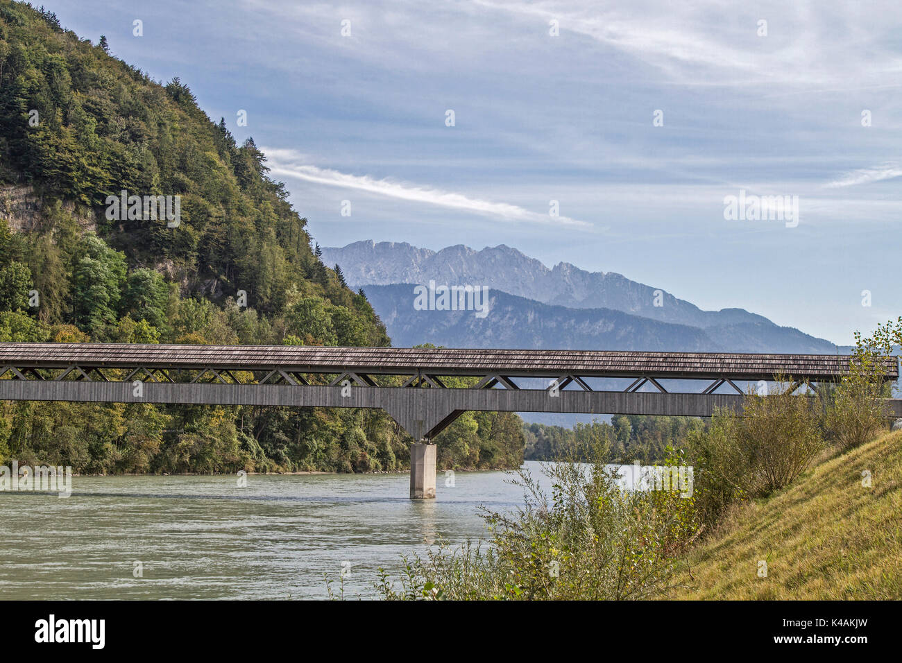 The Wooden Rustic Zollhaus Bridge Allows Pedestrians And Cyclists At Niederaudorf The Transition To Austria - Stock Image