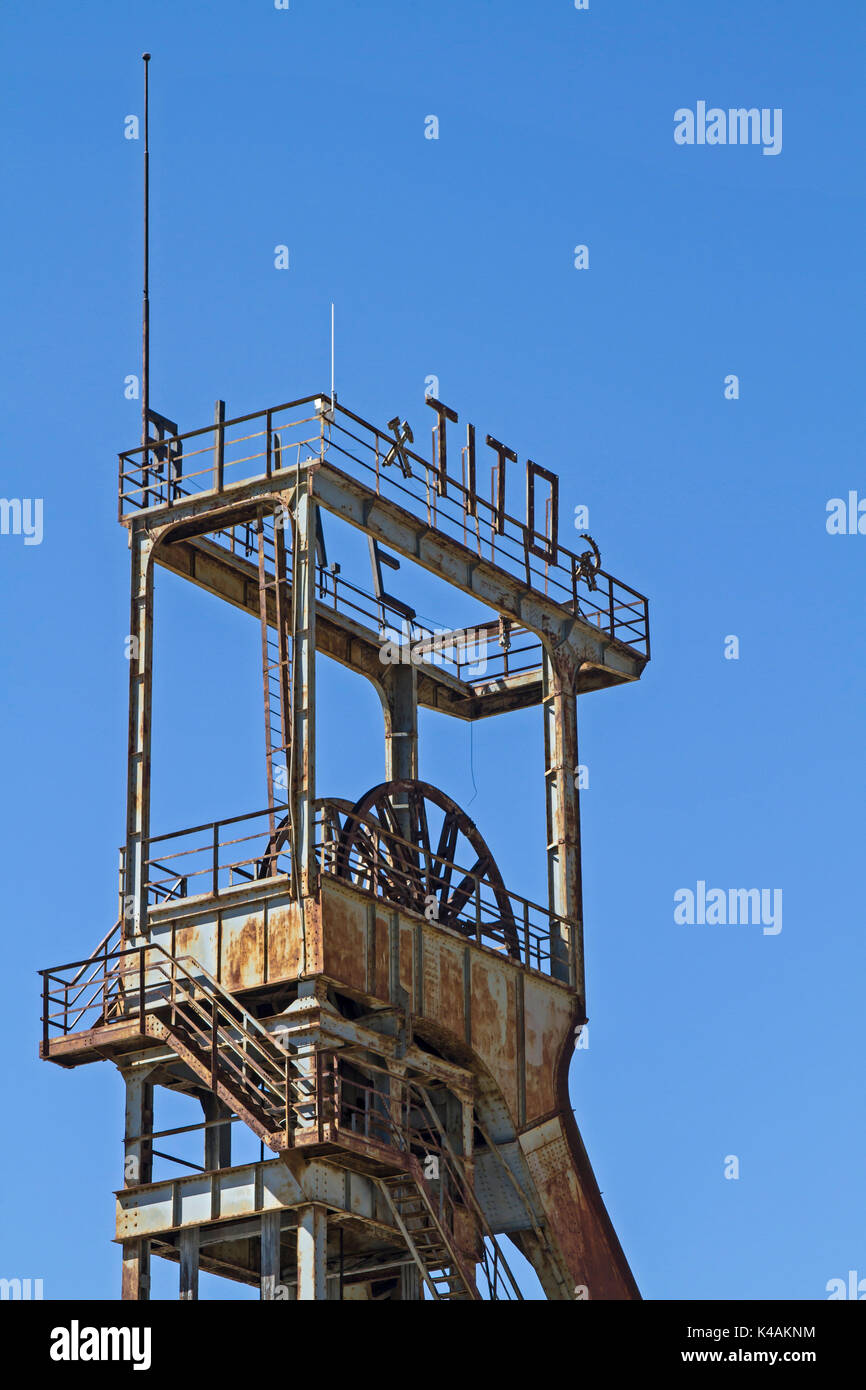 Old Production Tower Of A No Longer Used Coal Mine In Labin In Istria - Stock Image