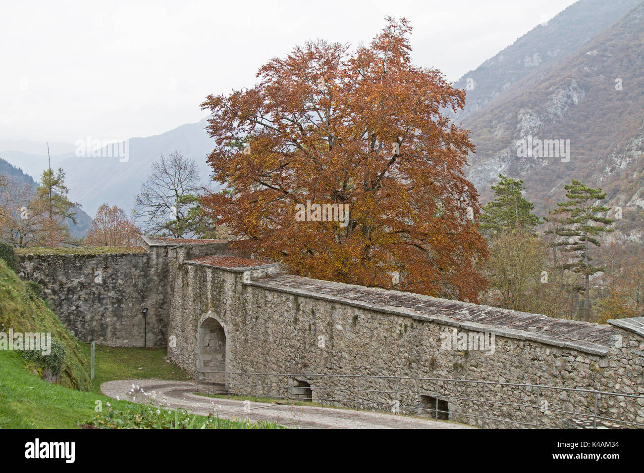 Ascent To Castello Di Stenico On A Dull Autumn Day - Stock Image