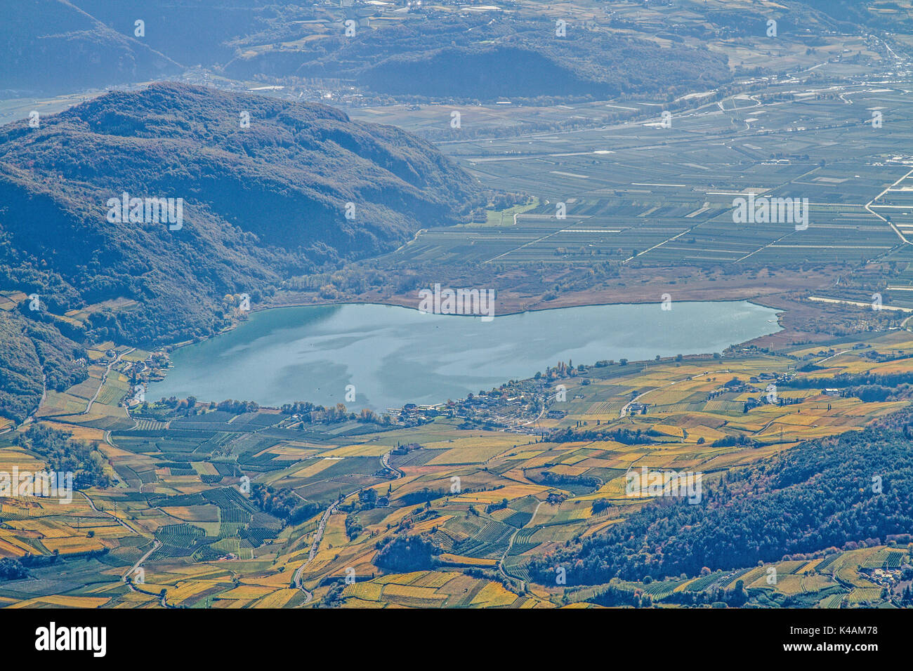 Lake Caldaro Seen From The Summit Of Penegal - Stock Image