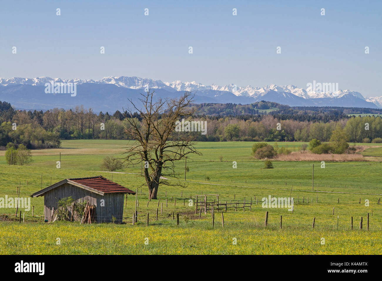 View Of The Bavarian Pre-Alps With The Benedictine Wall And The Herzogstand, Behind The Mighty Karwendel - Stock Image