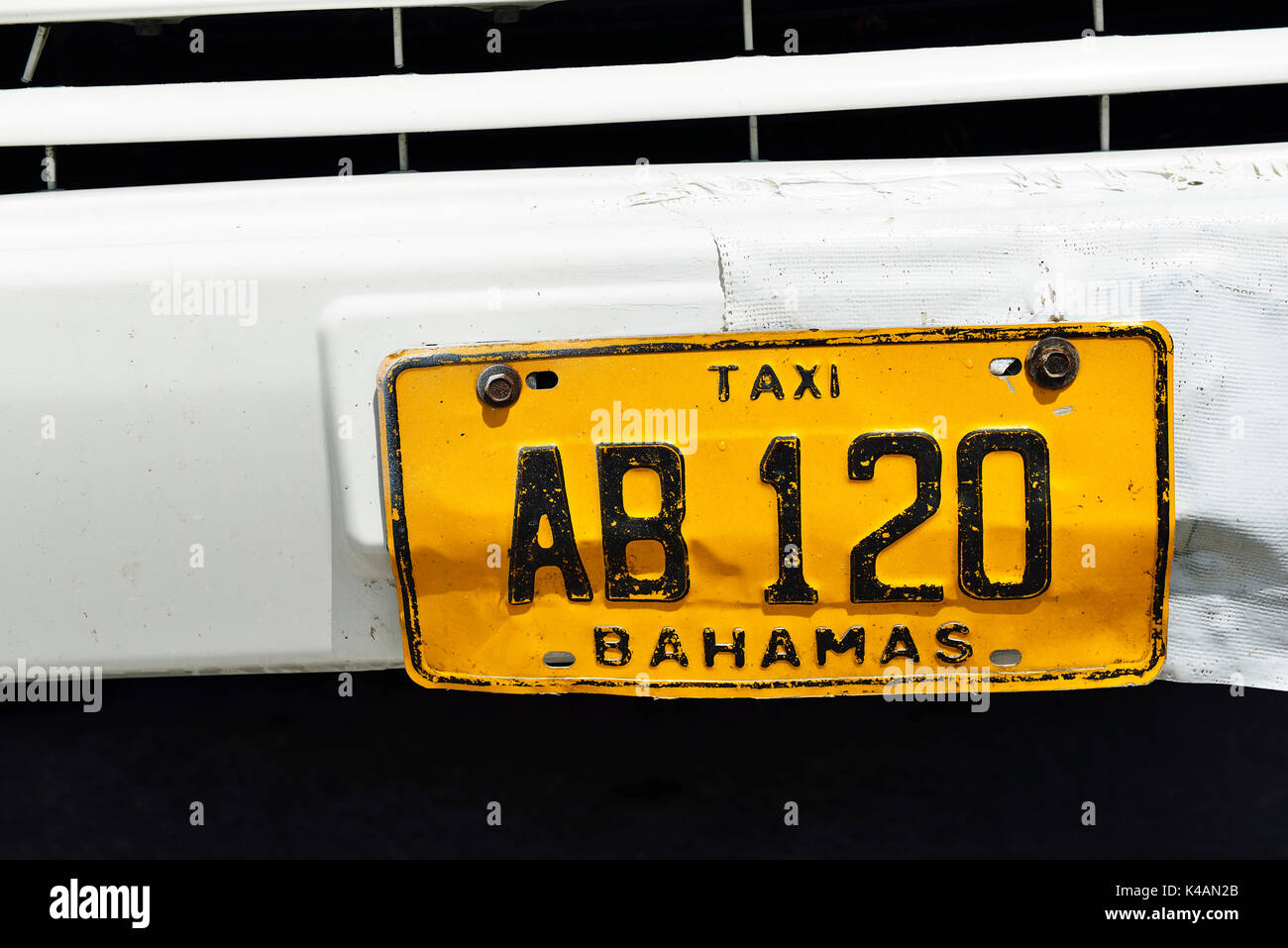 Number plate of a taxi, Abacos Islands, Bahamas - Stock Image