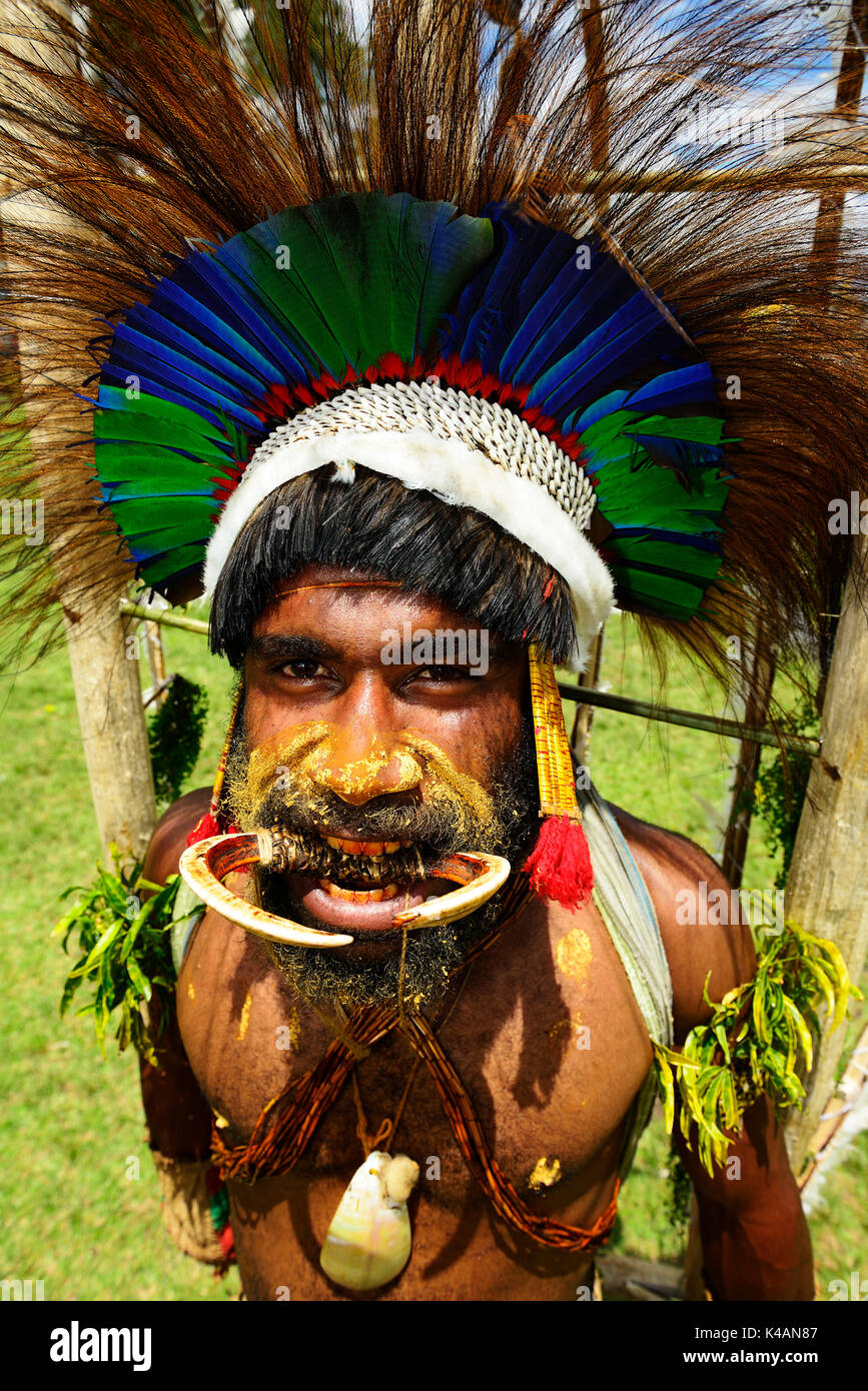 The highland tribes presenting themselves at the Sing Sing of Goroka, Papua New Guinea - Stock Image