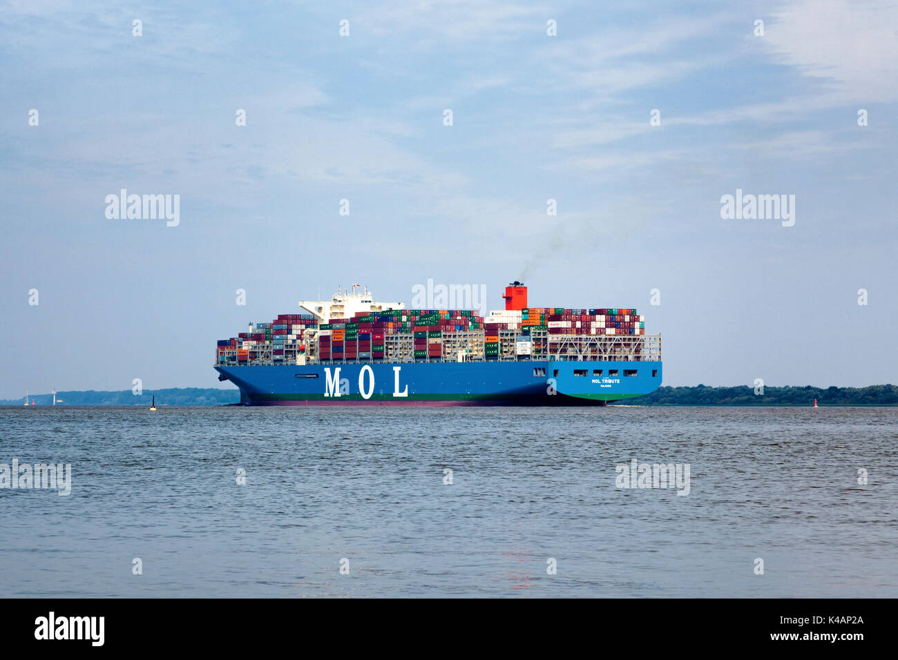 MOL Tribute is the third largest container ship in the world, built in 2017 by Samsung Heavy Industries. It is operated by Mitsui OSK Lines. - Stock Image