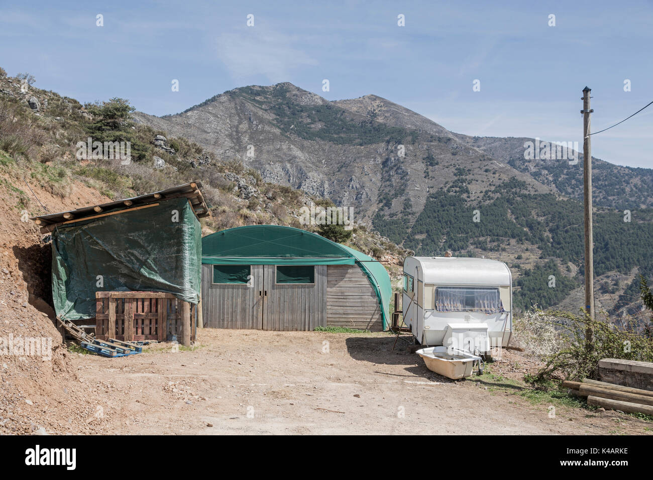 More Expedient Sheepfold And Mobile Sheperds Hut - Stock Image