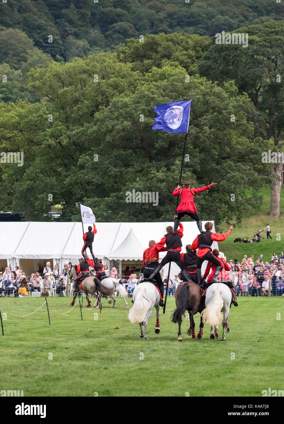 Cossack horse riding display at an English Country Fair event, Derbyshire, UK - Stock Image