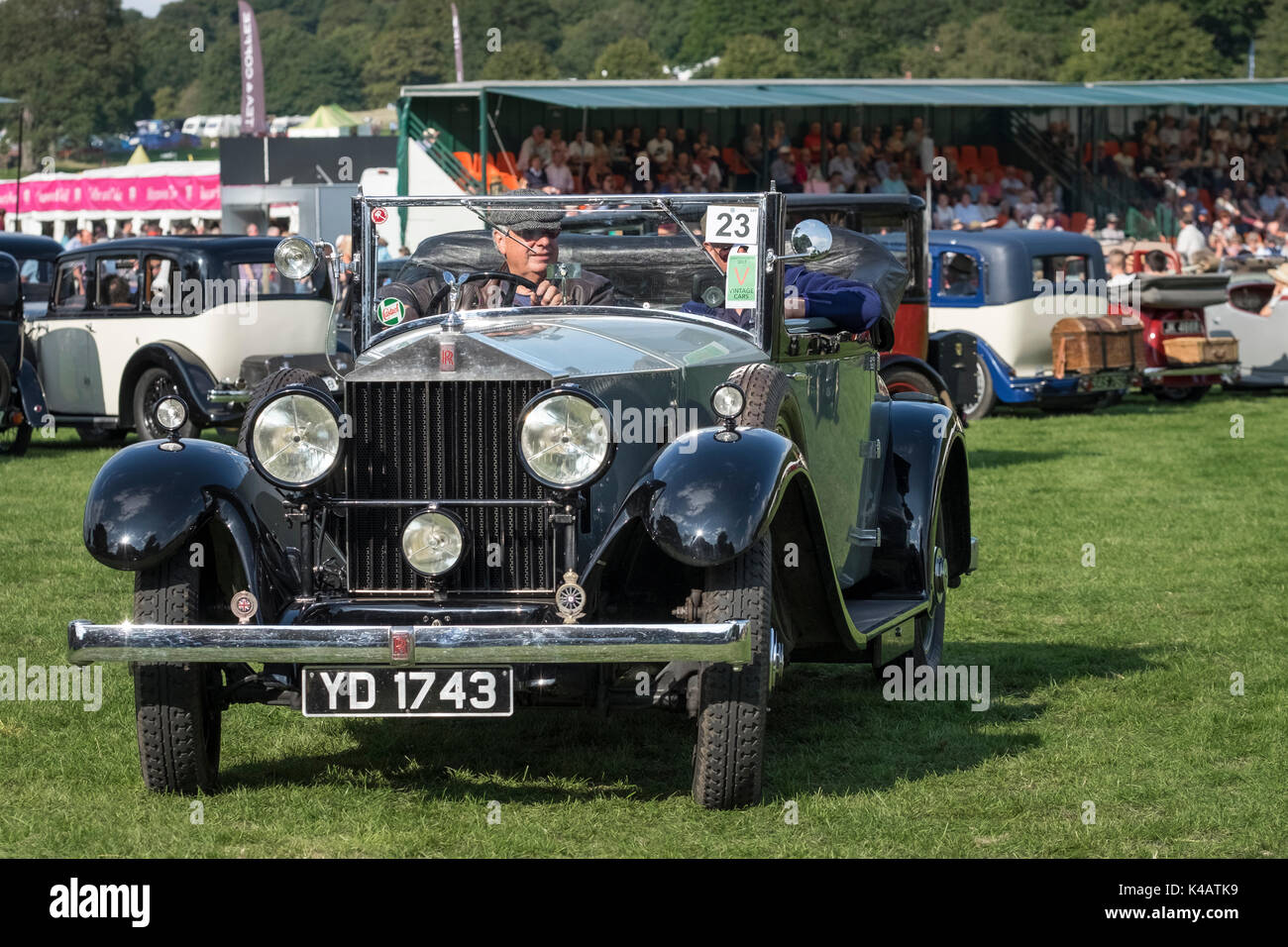 Vintage Rolls Royce car displayed with others at a Country Fair event, Derbyshire, UK - Stock Image