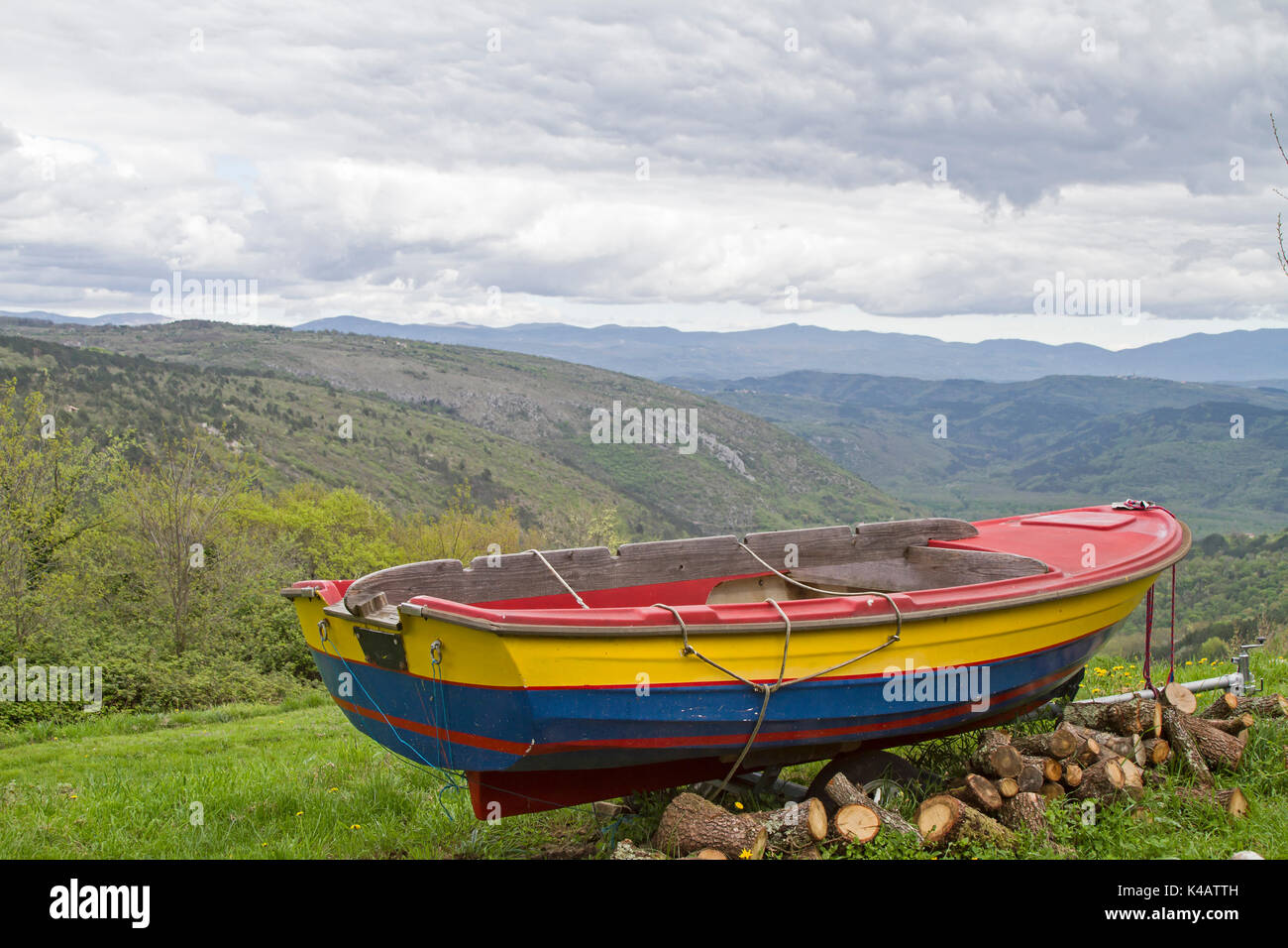 Rowboat On A Hill In The Istrian Inland - Stock Image