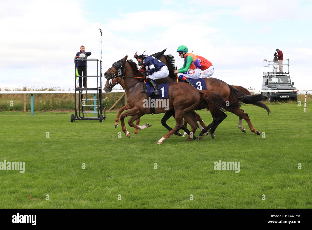 Horse Racing. And They're Off - Brighton races  Route Mobile Handicap 10/8/17 - Stock Image