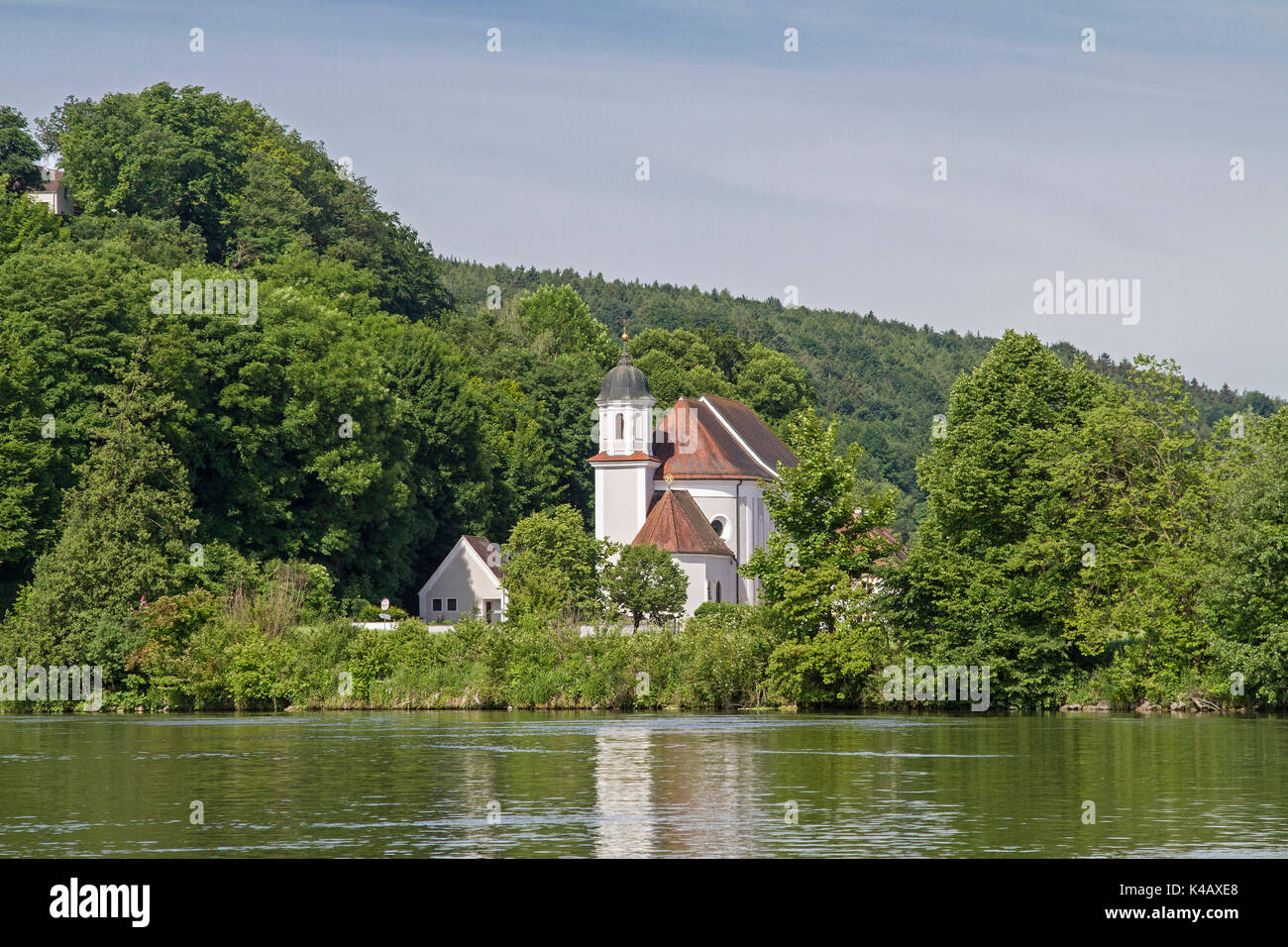 The Pilgrimage Church Of Mariaort Is Idyllically Located Directly Beside The Mouth Of The River Naab In The Danube - Stock Image
