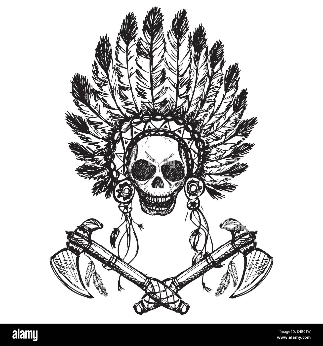 North American Indian chief with tomahawk, hand drawn,black on white, vector - Stock Image