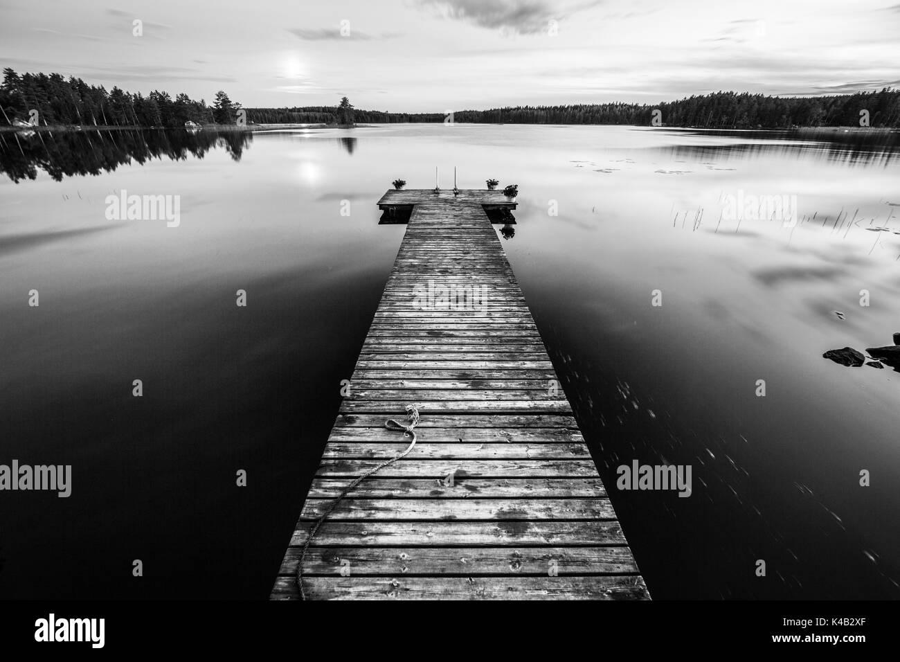 Longlanding Stage At Night In Scandinavia - Stock Image