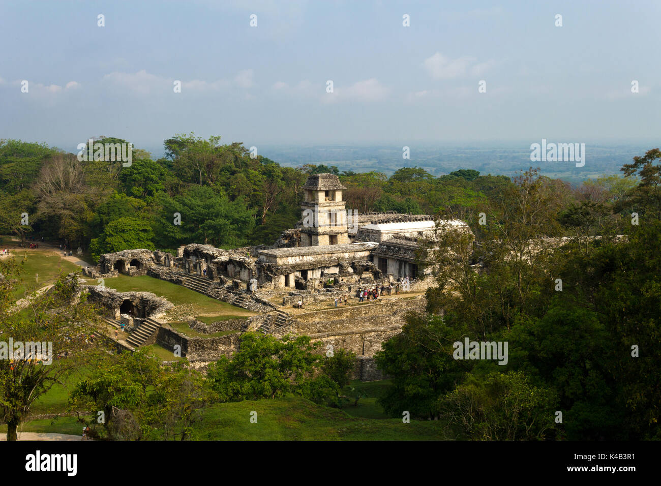 Early morning sun rises over Palenque National Park in Mexico - Stock Image