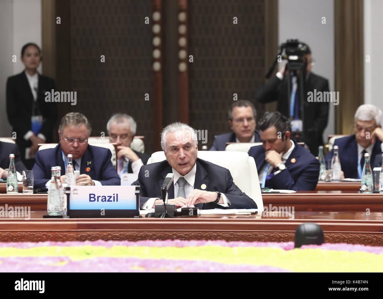 Xiamen, China's Fujian Province. 5th Sep, 2017. Brazilian President Michel Temer speaks at the Dialogue of Emerging Stock Photo
