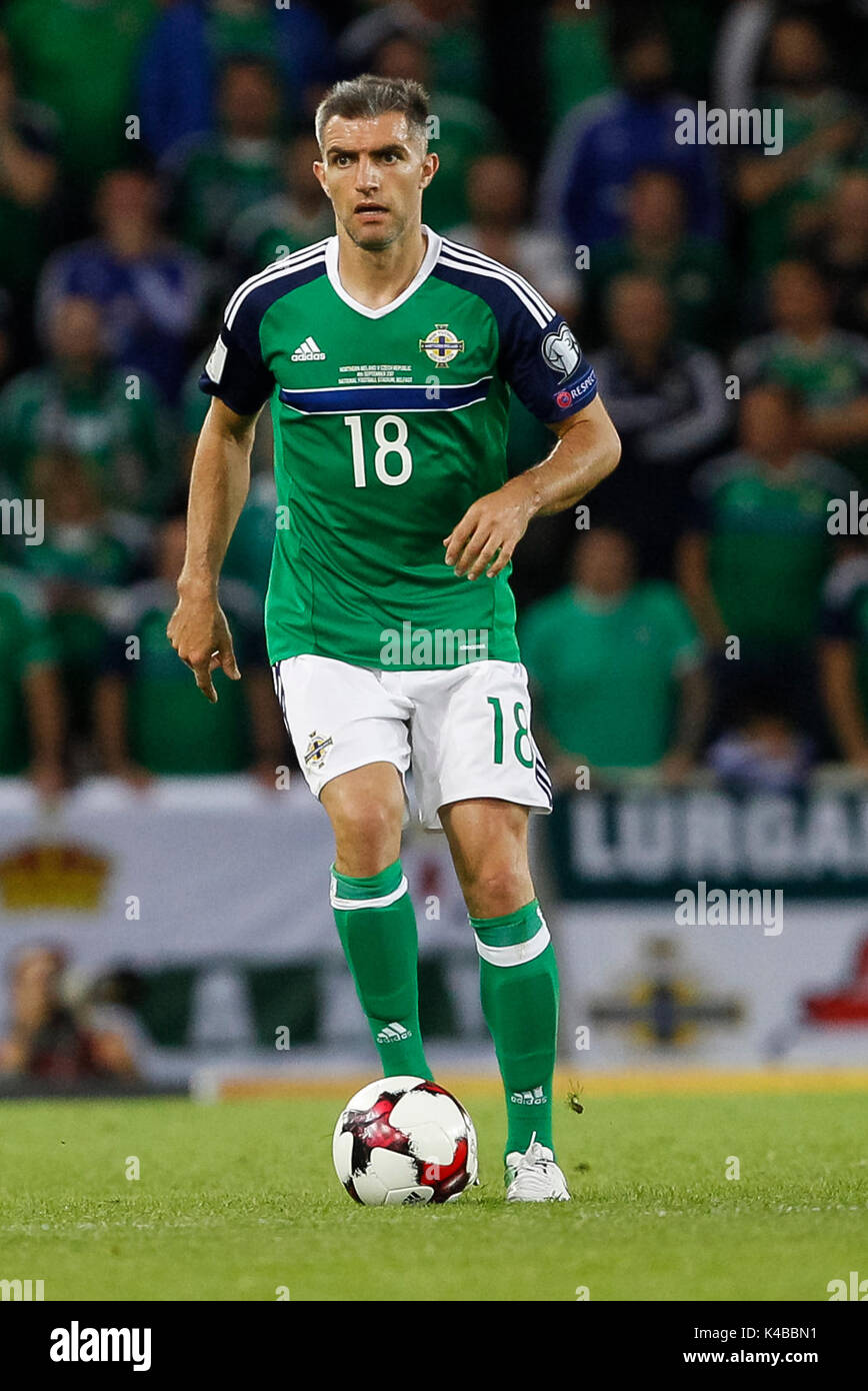 Aaron Hughes Of Northern Ireland During The Fifa World Cup 2018 Qualifying Group C Match Between And Czech Republic At Windsor Park On