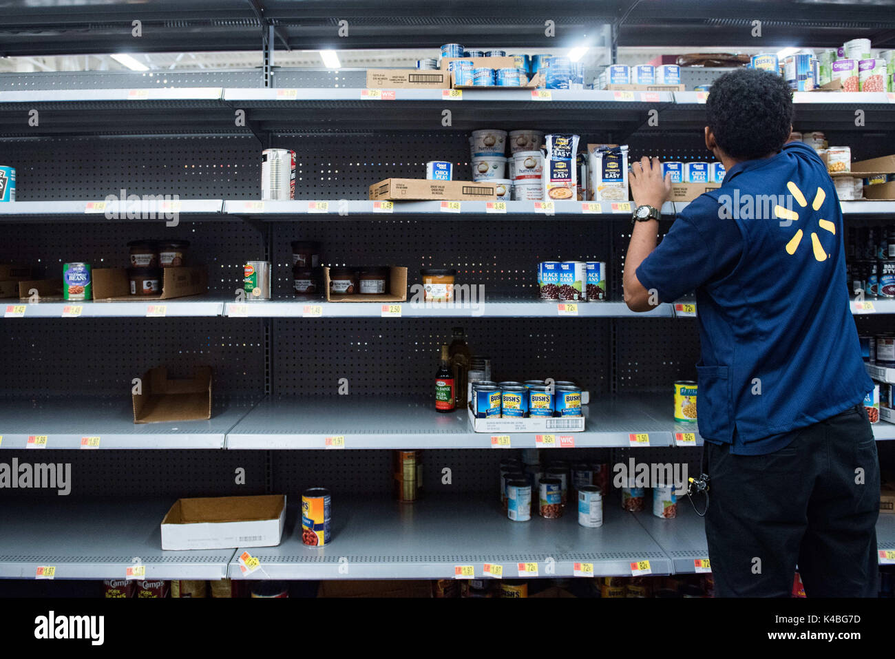 fort lauderdale florida usa 5th sep 2017 canned food shelves at walmart in fort lauderdale while residents stock up with groceries in preperation for