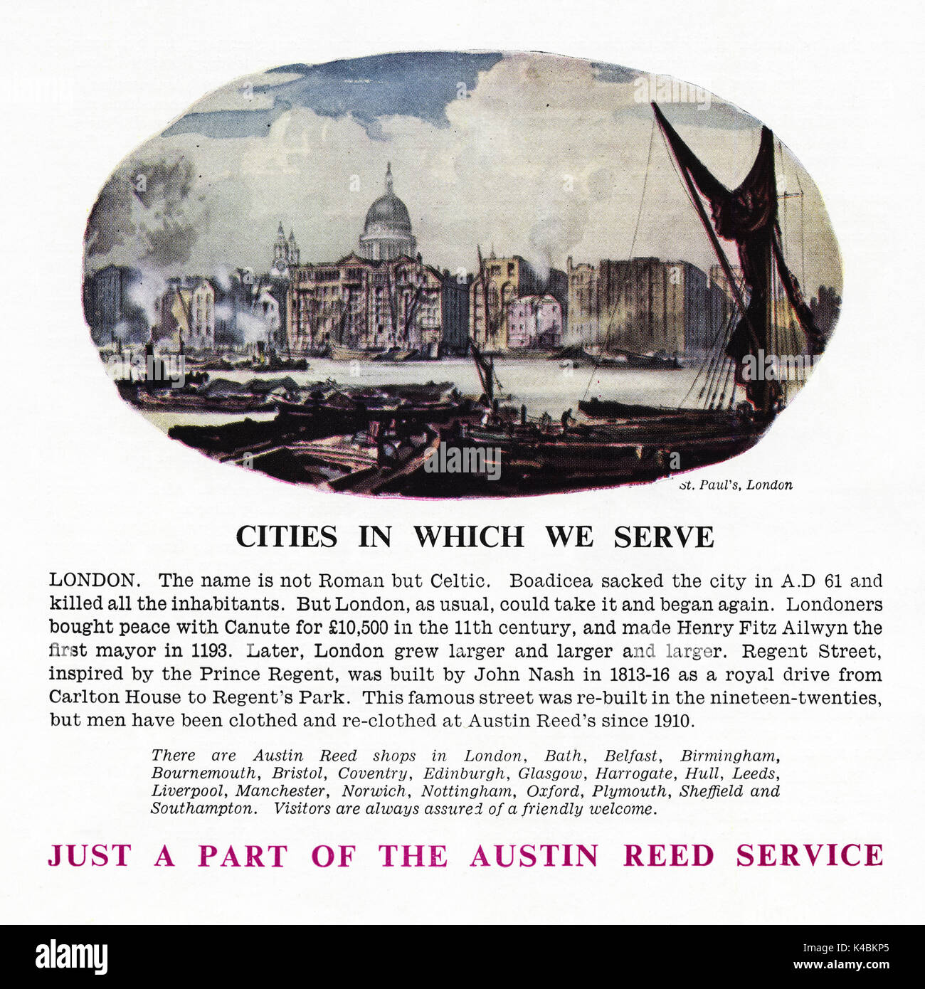 1940s Old Vintage Original Advert Advertising Austin Reed Men S Stock Photo Alamy