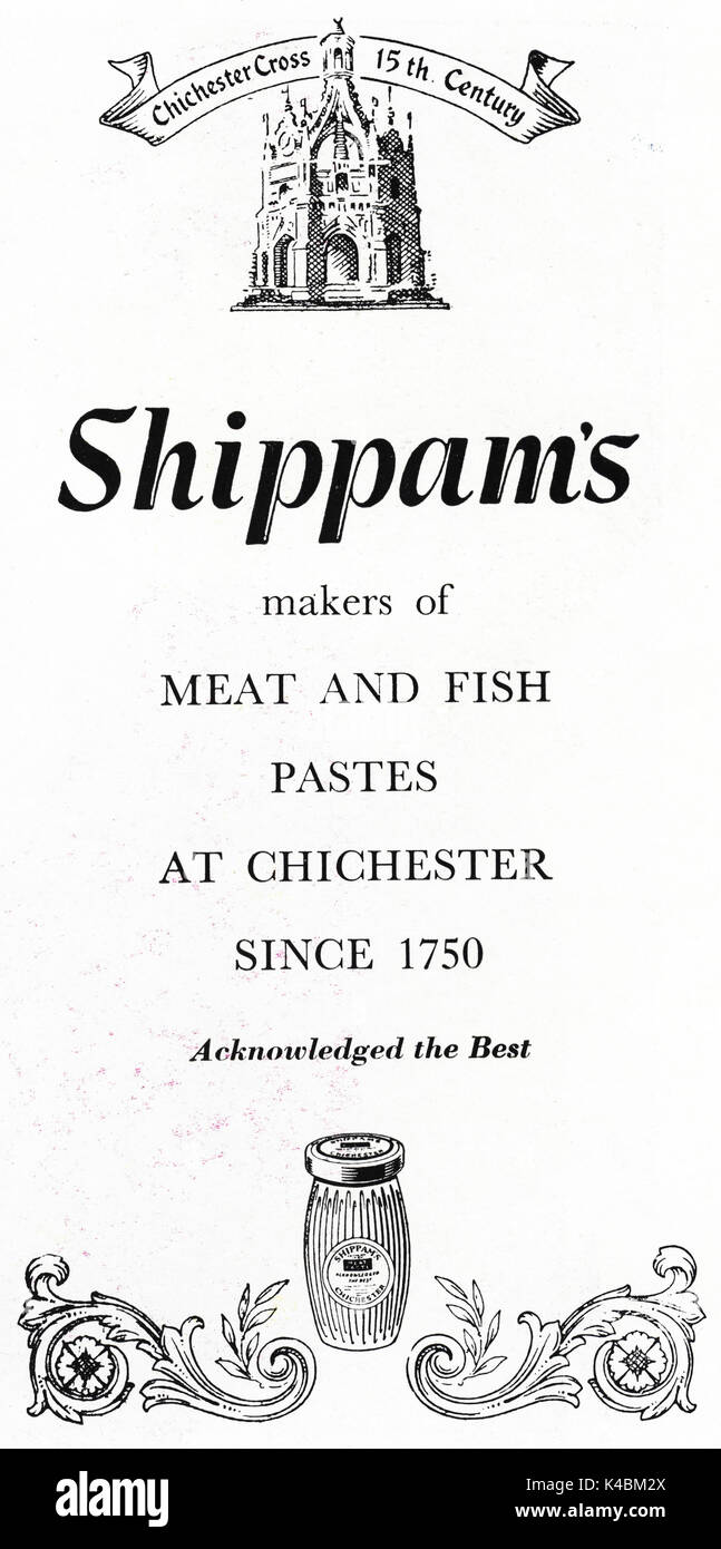1940s old vintage original advert advertising Shippam's meat and fish paste of Chichester in magazine circa 1947 when supplies were still restricted under post-war rationing - Stock Image