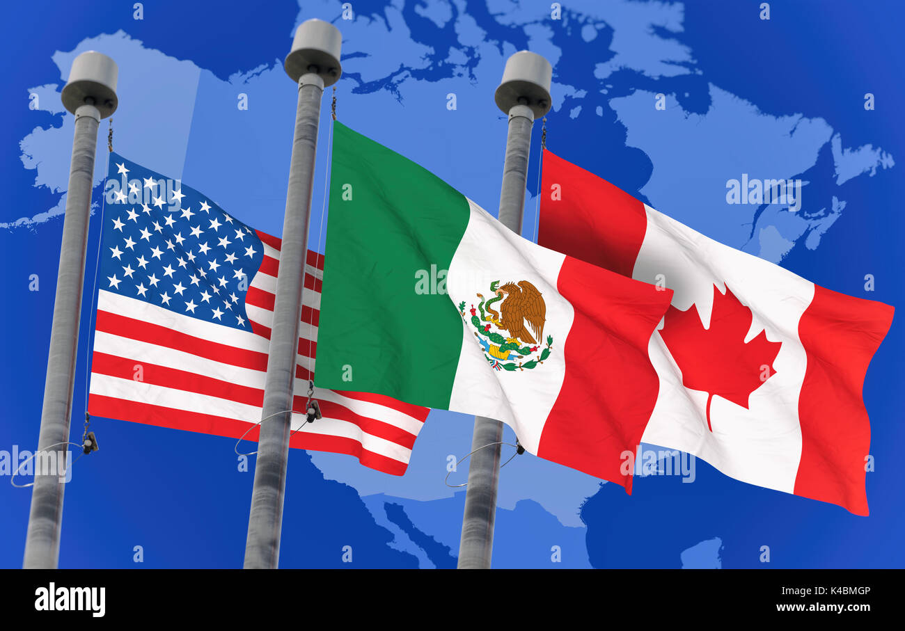Canada Mexico And Us Flags Over North America Map Conceptual Image