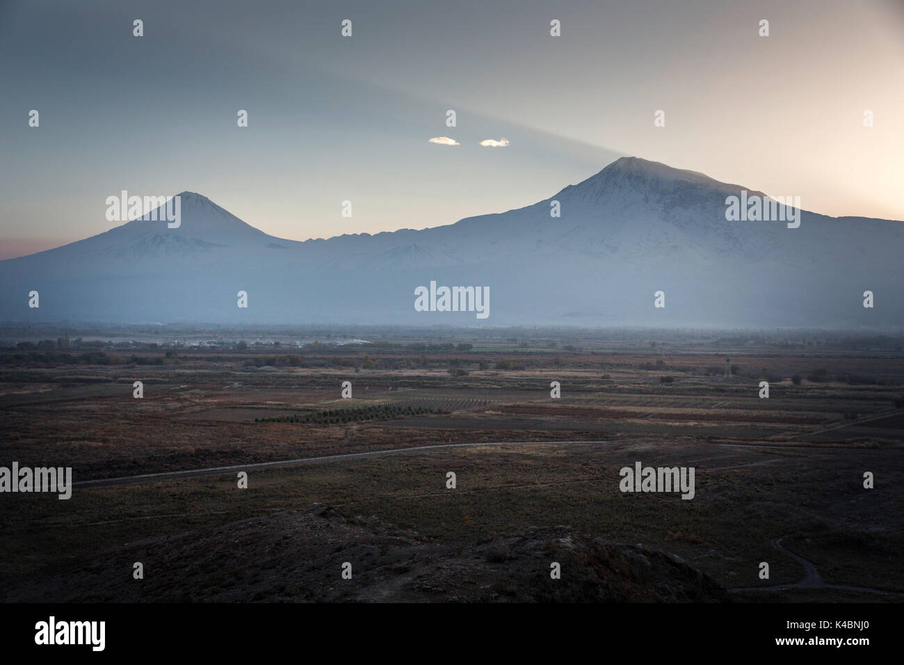 Landscape in front of Mount Ararat between Yerevan and the monastery of Kkor Virap, in Armenia. Stock Photo