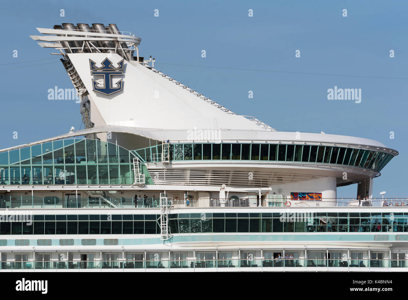 Section of the upper decks of the cruise ship Navigator of the Seas underway on Southampton Water England UK. August 2017 - Stock Image