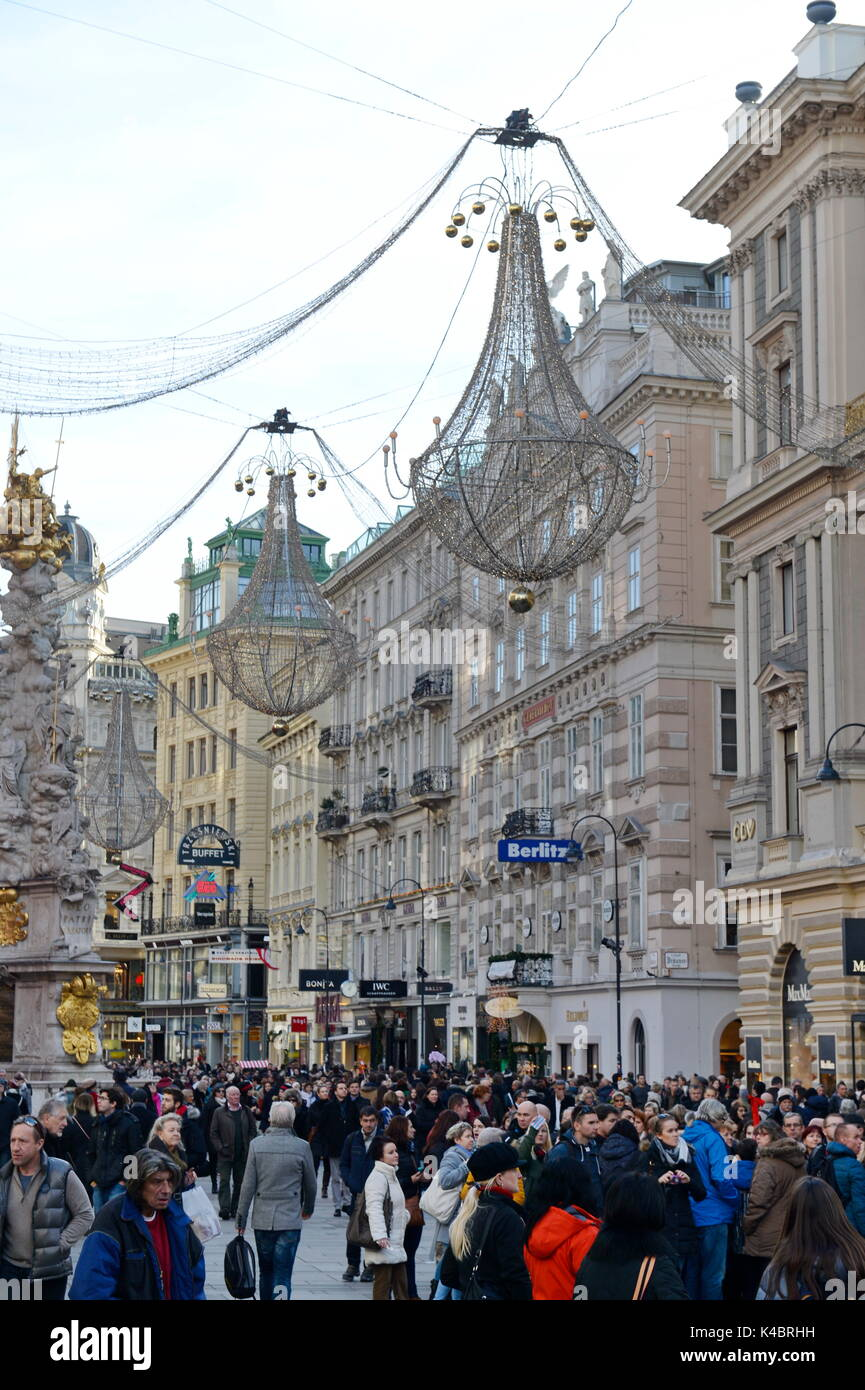 Christmas Mood In The First District In Vienna - Stock Image