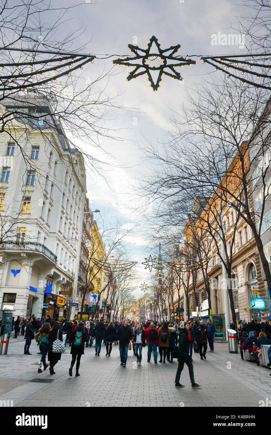 Christmas Mood On The Mariahilfer Shopping Street In Vienna - Stock Image