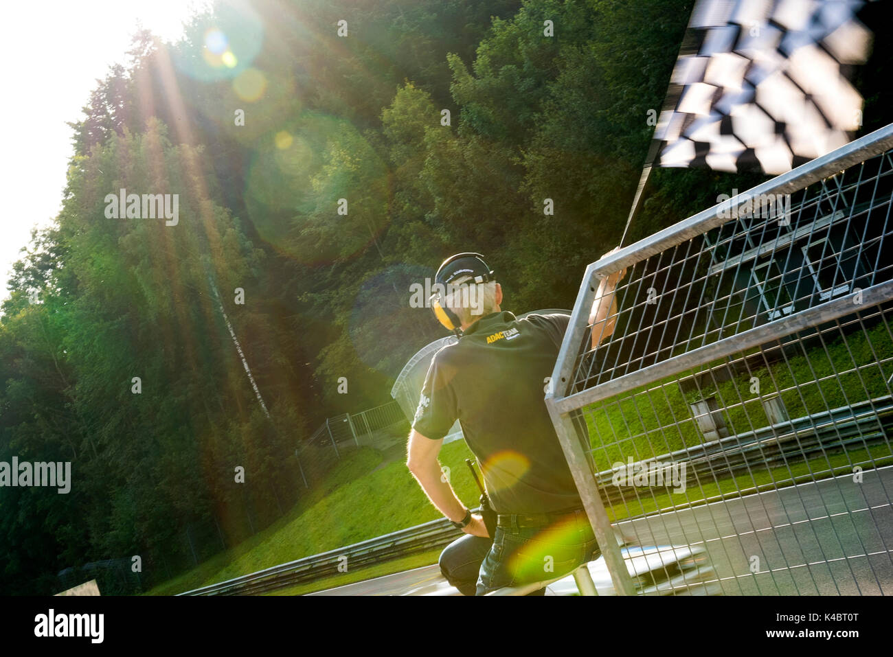 Checkered Flag at ADAC Event 'Sounds of Speed',  Salzburgring - Classic Car Racing - Stock Image