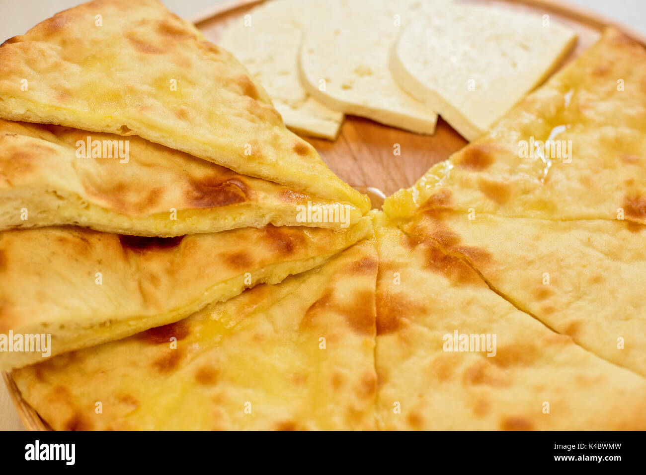 ossetian pie on a white - Stock Image